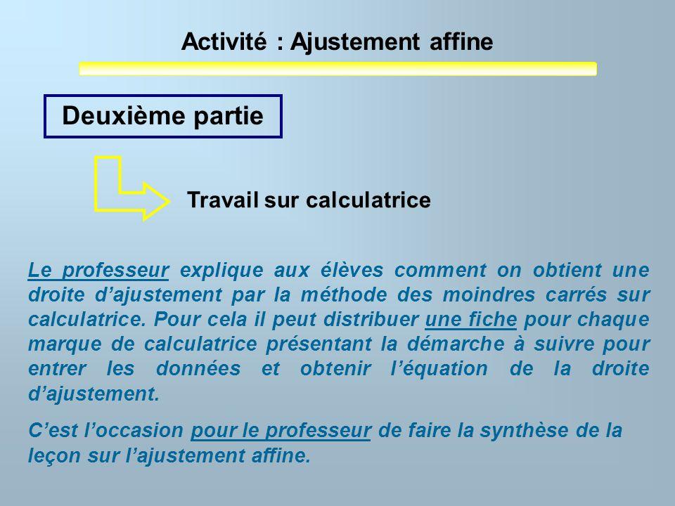 Activité : Ajustement affine Le professeur explique aux élèves comment on obtient une droite dajustement par la méthode des moindres carrés sur calcul