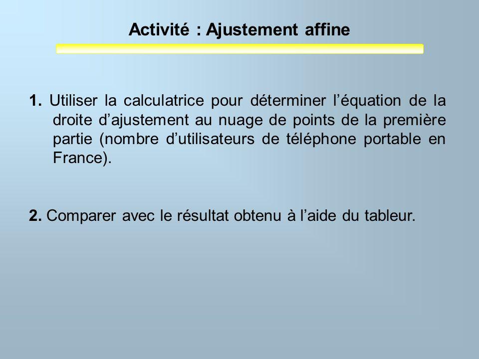 Activité : Ajustement affine 1. Utiliser la calculatrice pour déterminer léquation de la droite dajustement au nuage de points de la première partie (