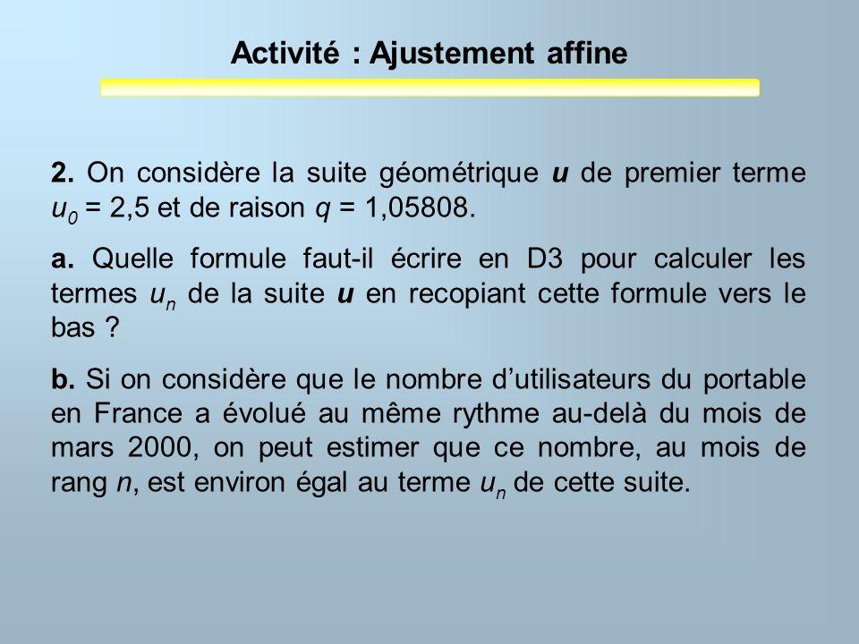 Activité : Ajustement affine 2. On considère la suite géométrique u de premier terme u 0 = 2,5 et de raison q = 1,05808. a. Quelle formule faut-il écr
