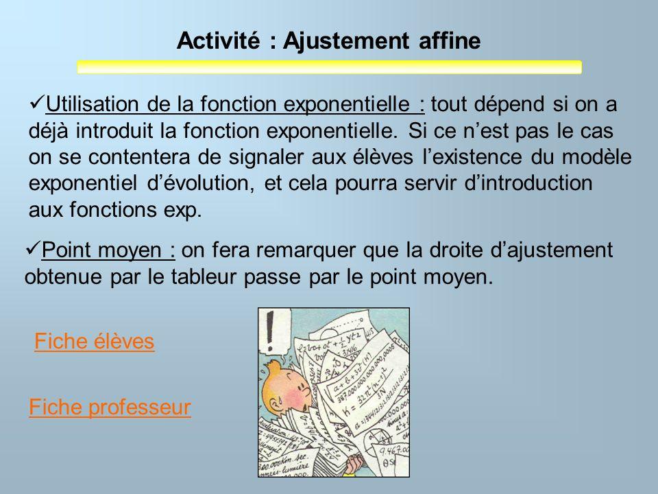 Activité : Ajustement affine Utilisation de la fonction exponentielle : tout dépend si on a déjà introduit la fonction exponentielle. Si ce nest pas l