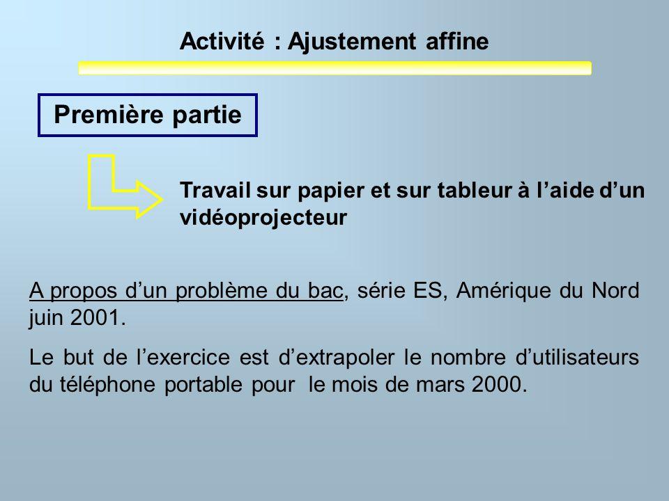 Activité : Ajustement affine Première partie A propos dun problème du bac, série ES, Amérique du Nord juin 2001. Le but de lexercice est dextrapoler l