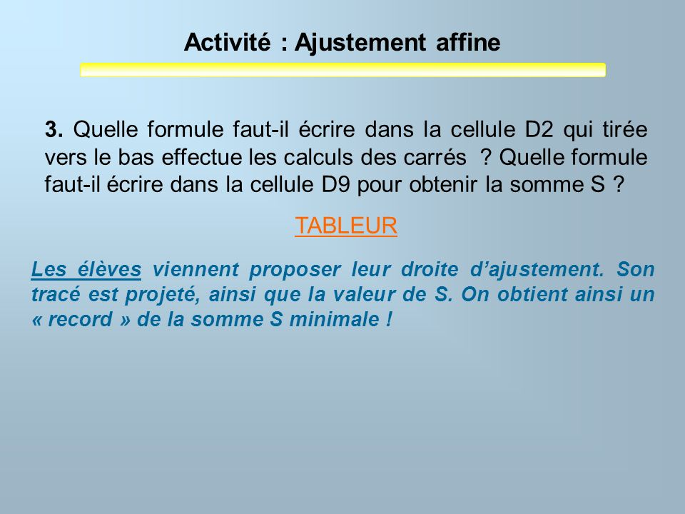 Activité : Ajustement affine 3. Quelle formule faut-il écrire dans la cellule D2 qui tirée vers le bas effectue les calculs des carrés ? Quelle formul