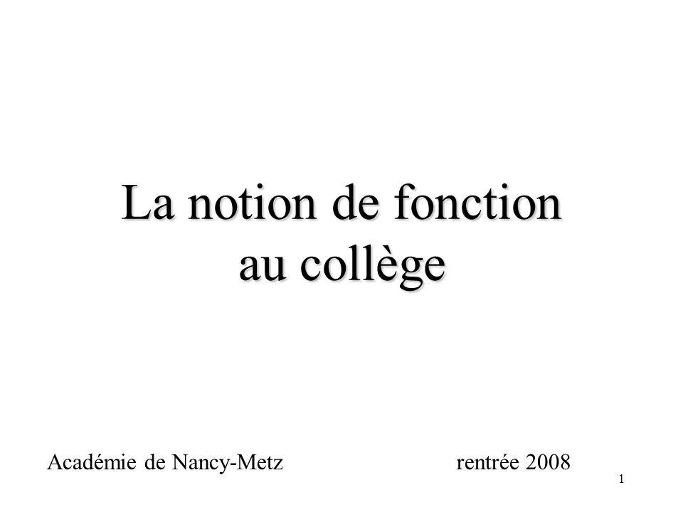 1 Académie de Nancy-Metzrentrée 2008 La notion de fonction au collège