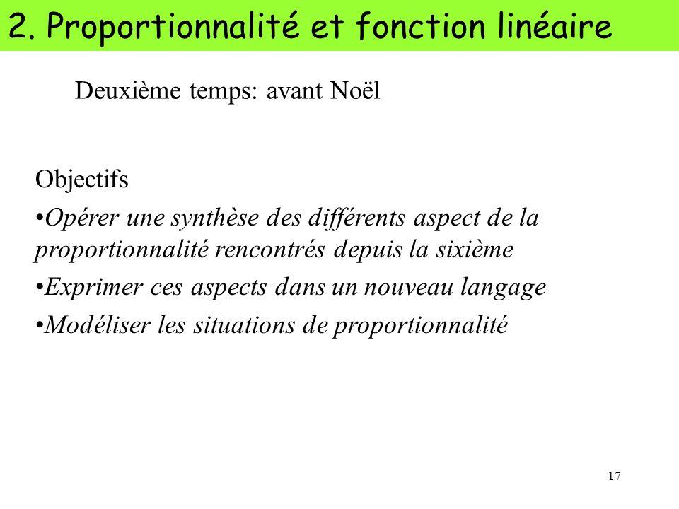 17 2. Proportionnalité et fonction linéaire Deuxième temps: avant Noël Objectifs Opérer une synthèse des différents aspect de la proportionnalité renc