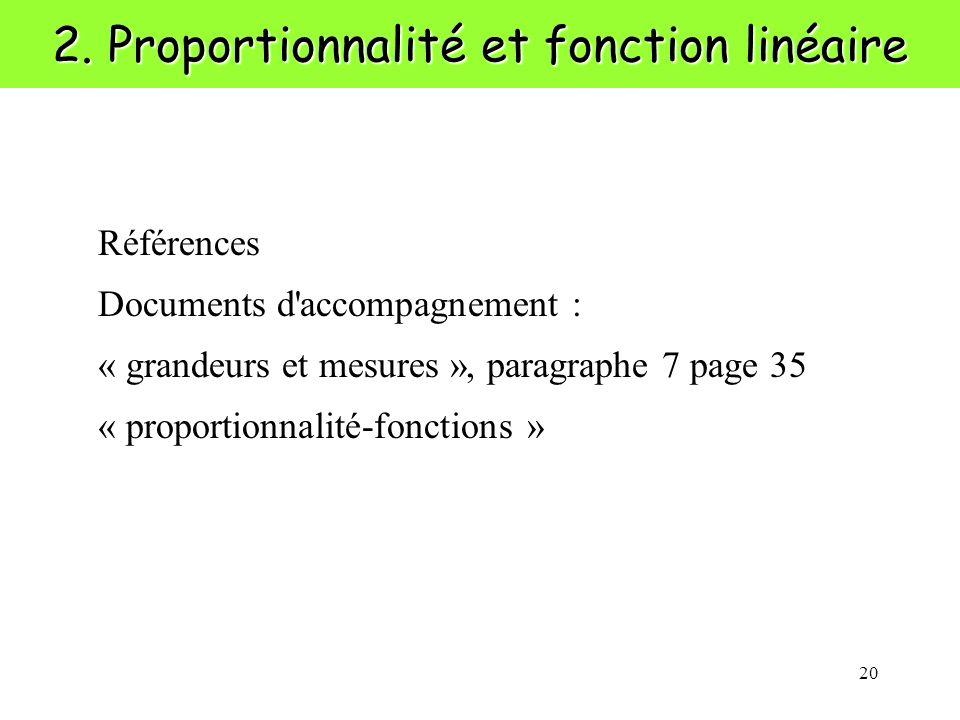 20 2. Proportionnalité et fonction linéaire Références Documents d'accompagnement : « grandeurs et mesures », paragraphe 7 page 35 « proportionnalité-