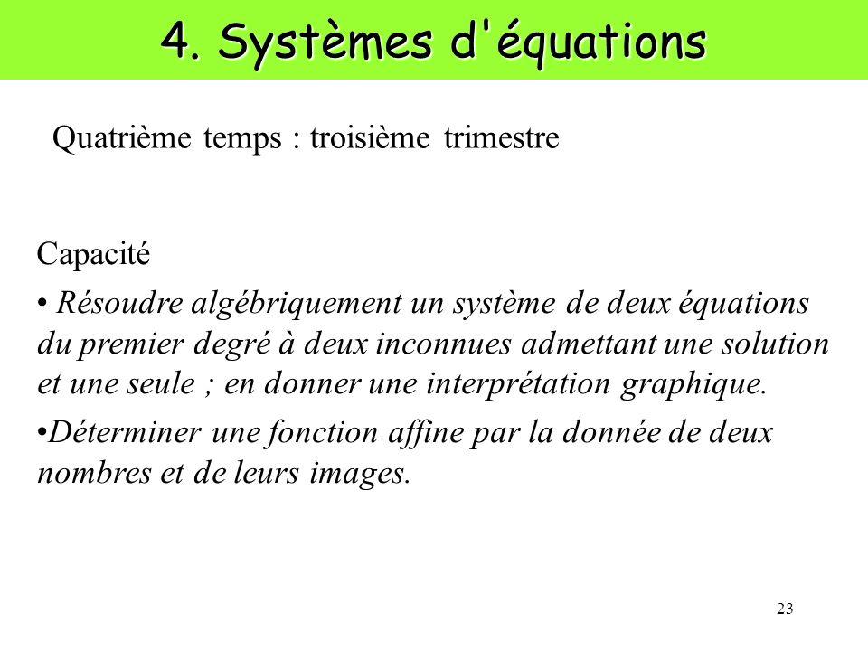 23 4. Systèmes d'équations Capacité Résoudre algébriquement un système de deux équations du premier degré à deux inconnues admettant une solution et u