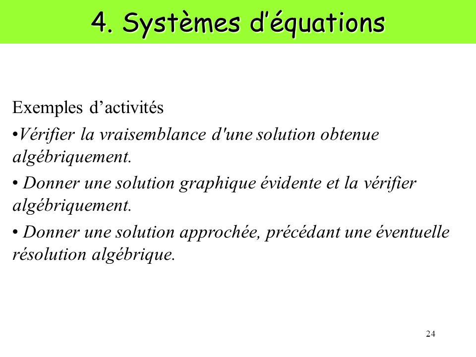 24 4. Systèmes déquations Exemples dactivités Vérifier la vraisemblance d'une solution obtenue algébriquement. Donner une solution graphique évidente
