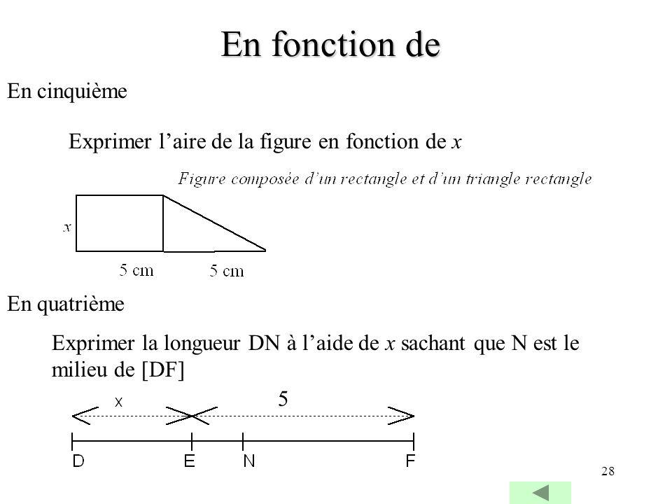 28 En fonction de En cinquième Exprimer laire de la figure en fonction de x En quatrième Exprimer la longueur DN à laide de x sachant que N est le mil