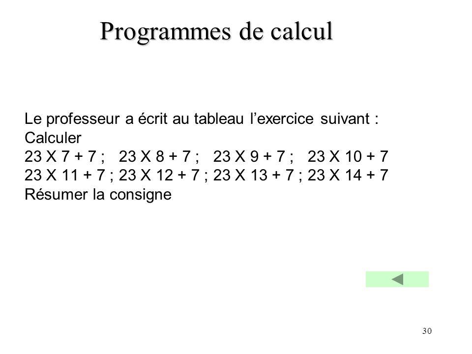 30 Programmes de calcul Le professeur a écrit au tableau lexercice suivant : Calculer 23 X 7 + 7 ;23 X 8 + 7 ;23 X 9 + 7 ; 23 X 10 + 7 23 X 11 + 7 ;23