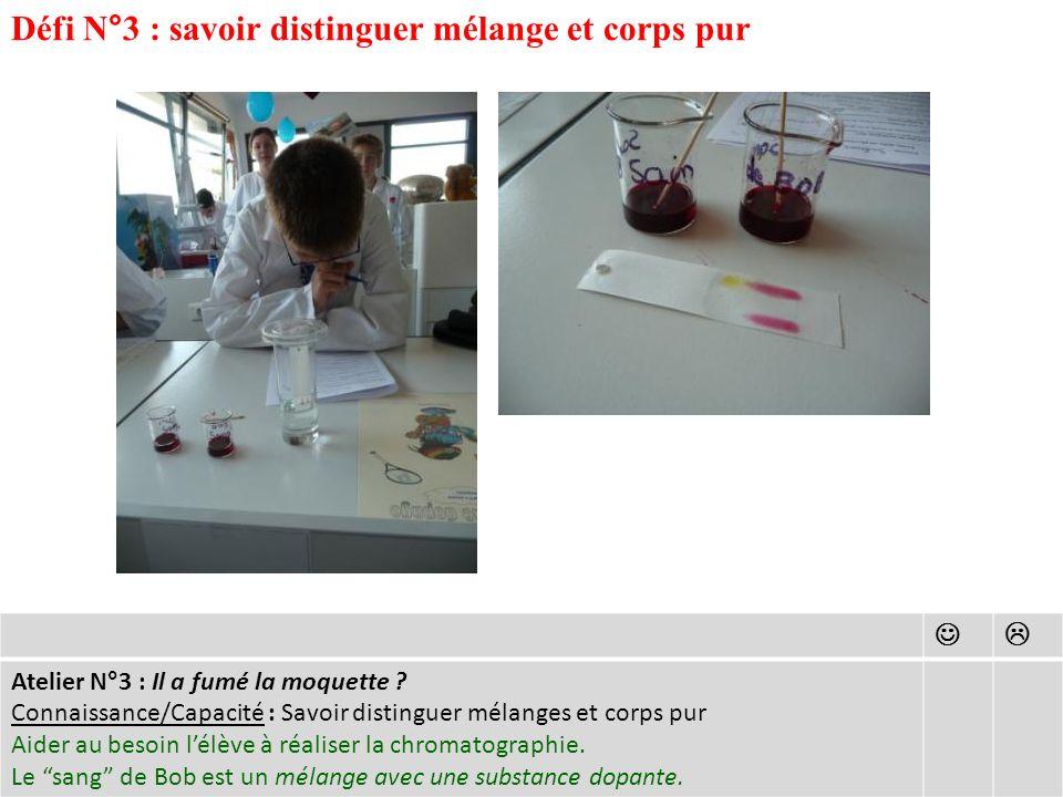 Défi N°3 : savoir distinguer mélange et corps pur Atelier N°3 : Il a fumé la moquette .