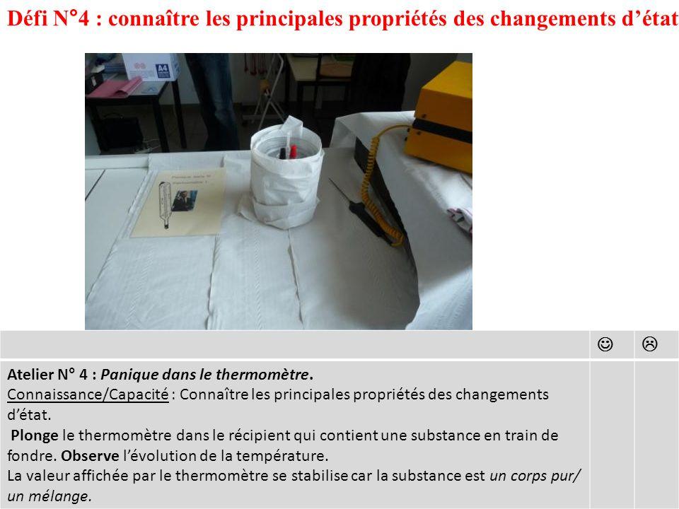Défi N°4 : connaître les principales propriétés des changements détat Atelier N° 4 : Panique dans le thermomètre.