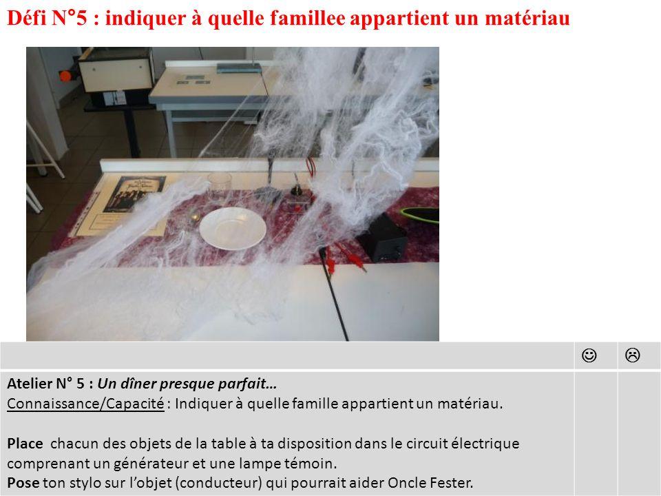 Défi N°5 : indiquer à quelle famillee appartient un matériau Atelier N° 5 : Un dîner presque parfait… Connaissance/Capacité : Indiquer à quelle famille appartient un matériau.