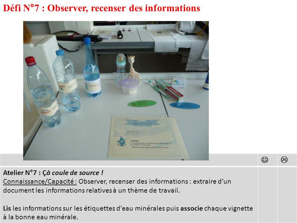 Défi N°7 : Observer, recenser des informations Atelier N°7 : Çà coule de source .