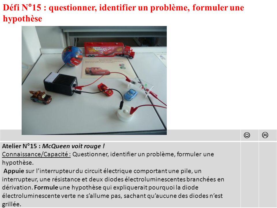 Défi N°15 : questionner, identifier un problème, formuler une hypothèse Atelier N°15 : McQueen voit rouge .