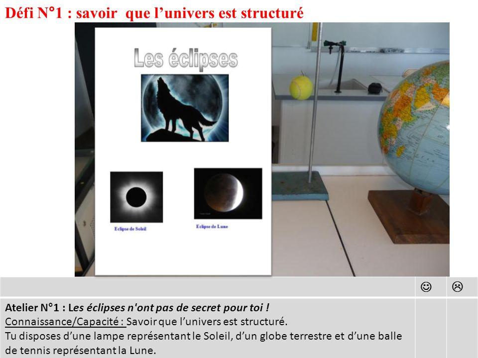 Défi N°1 : savoir que lunivers est structuré Atelier N°1 : Les éclipses n ont pas de secret pour toi .