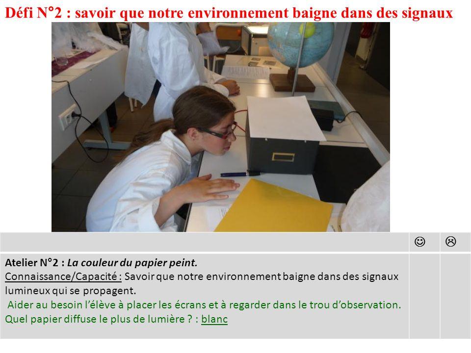 Défi N°2 : savoir que notre environnement baigne dans des signaux Atelier N°2 : La couleur du papier peint.