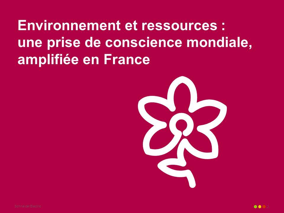 Schneider Electric 2 Environnement et ressources : une prise de conscience mondiale, amplifiée en France