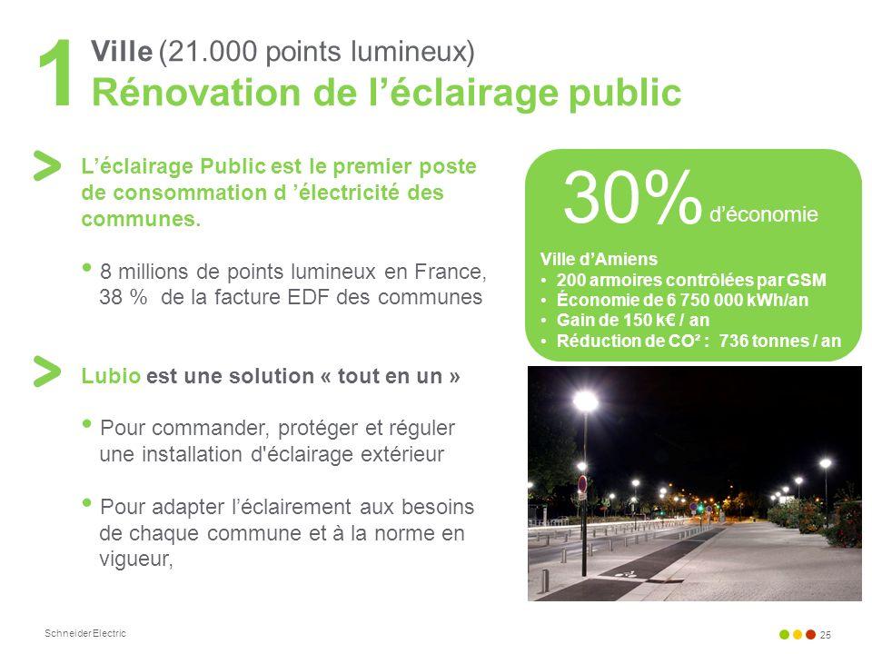 Schneider Electric 25 Ville (21.000 points lumineux) Rénovation de léclairage public 1 Léclairage Public est le premier poste de consommation d électr