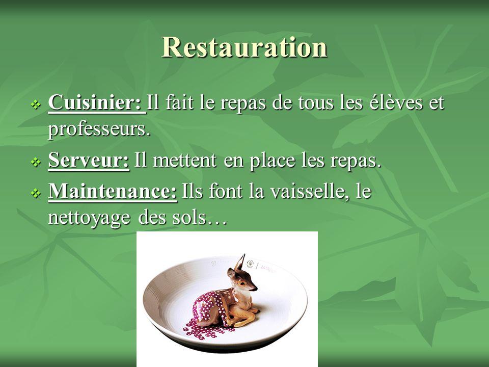 Restauration Cuisinier: Il fait le repas de tous les élèves et professeurs.