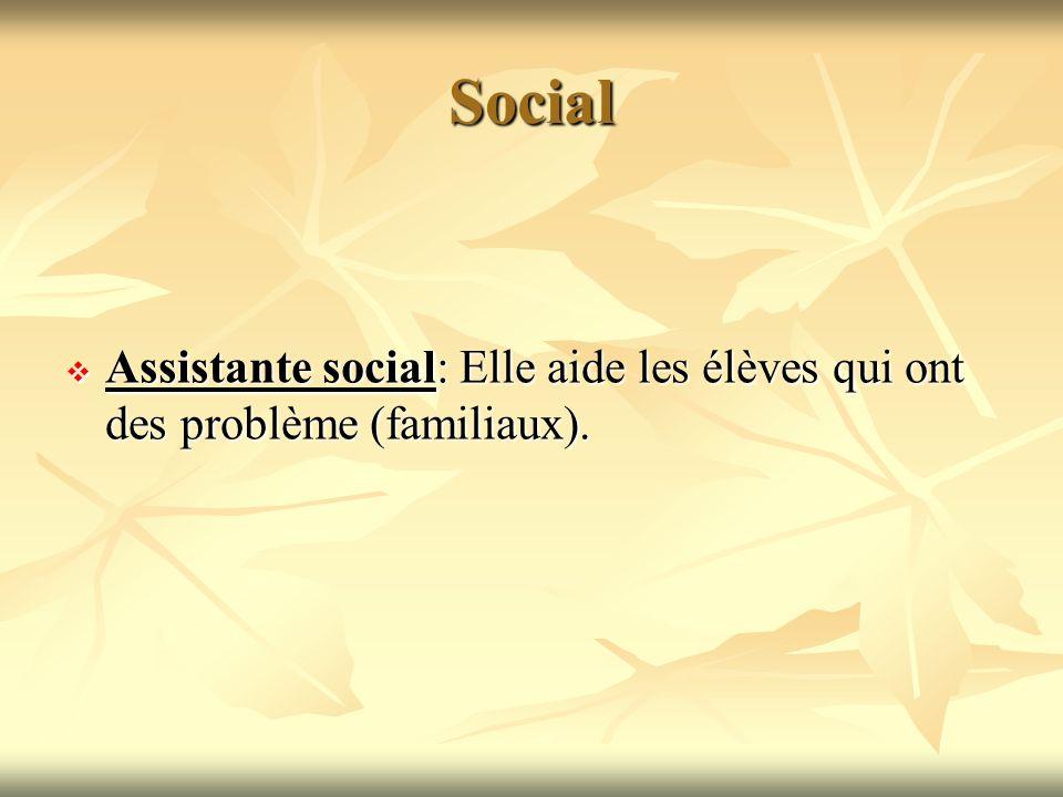 Social Assistante social: Elle aide les élèves qui ont des problème (familiaux).