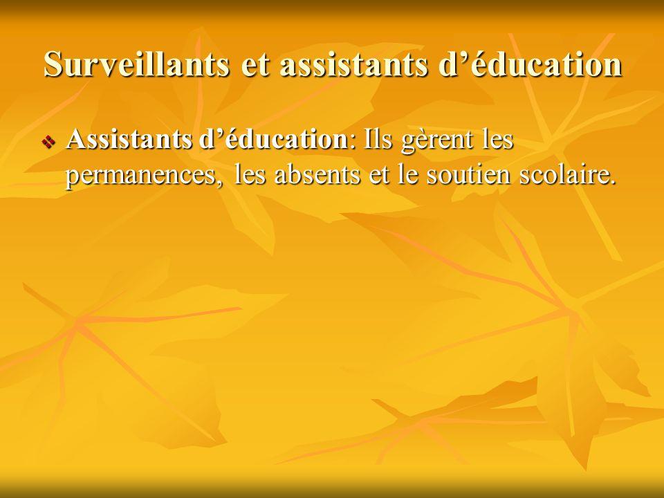 Surveillants et assistants déducation Assistants déducation: Ils gèrent les permanences, les absents et le soutien scolaire.