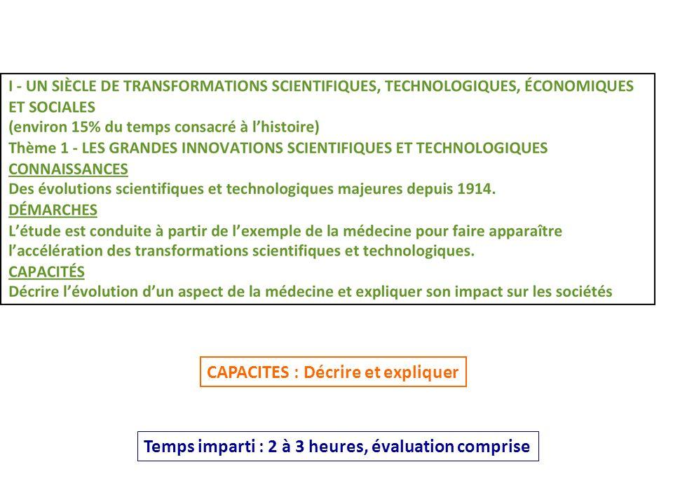 Temps imparti : 2 à 3 heures, évaluation comprise CAPACITES : Décrire et expliquer