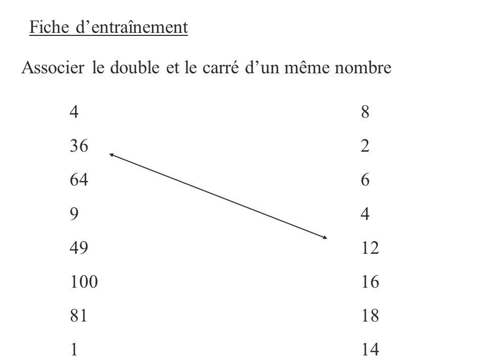 Fiche dentraînement Associer le double et le carré dun même nombre 48 362 646 94 4912 10016 8118 114