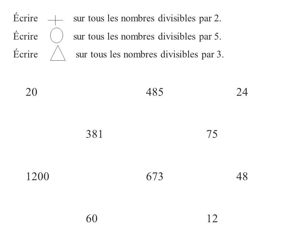 Écrire sur tous les nombres divisibles par 2. Écrire sur tous les nombres divisibles par 5. Écrire sur tous les nombres divisibles par 3. 2048524 3817