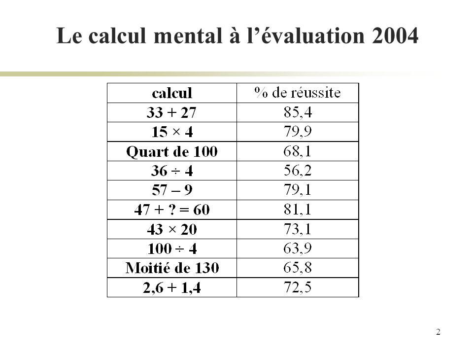3 Le calcul mental Des bonnes raisons