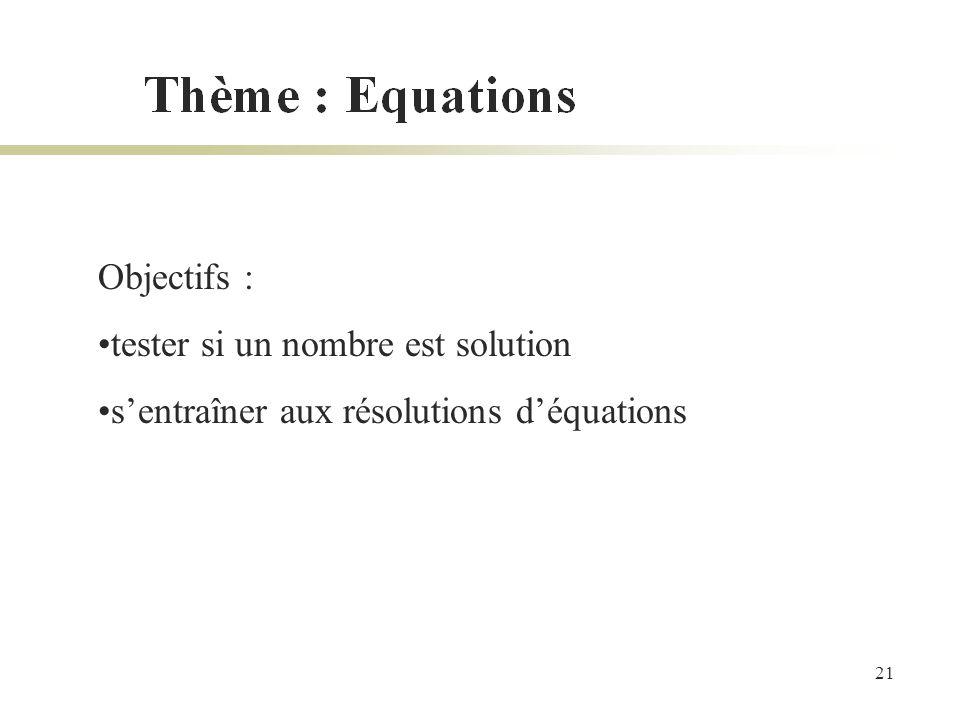 21 Objectifs : tester si un nombre est solution sentraîner aux résolutions déquations