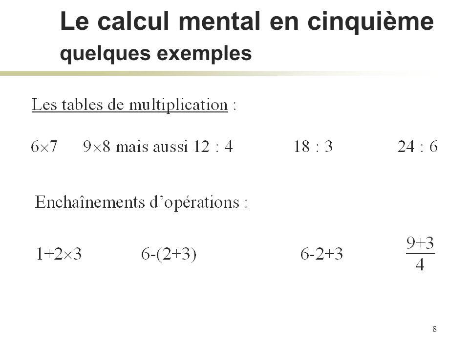 8 Le calcul mental en cinquième quelques exemples