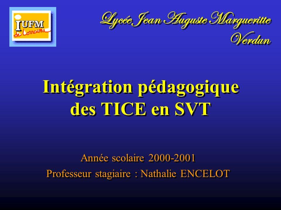 Intégration pédagogique des TICE en SVT Année scolaire 2000-2001 Professeur stagiaire : Nathalie ENCELOT Année scolaire 2000-2001 Professeur stagiaire
