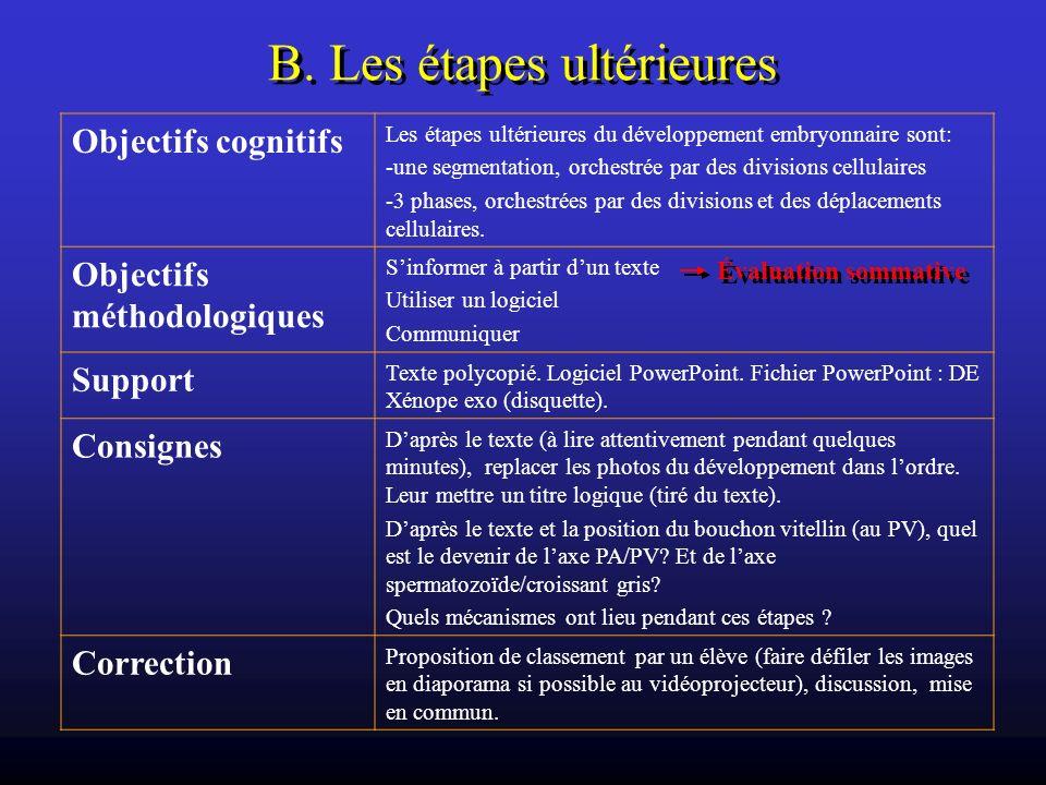 B. Les étapes ultérieures Objectifs cognitifs Les étapes ultérieures du développement embryonnaire sont: -une segmentation, orchestrée par des divisio