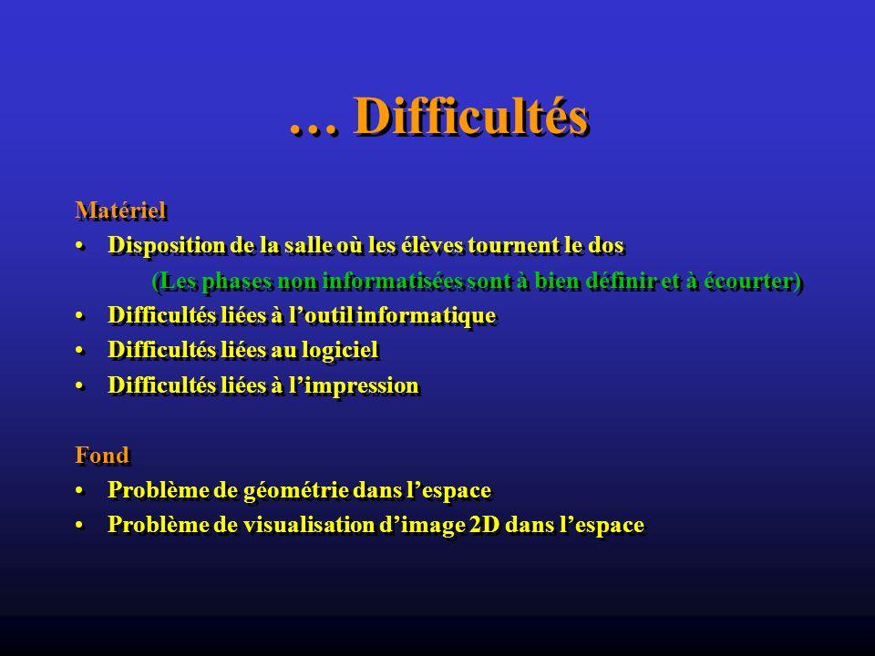 … Difficultés Matériel Disposition de la salle où les élèves tournent le dos (Les phases non informatisées sont à bien définir et à écourter) Difficul