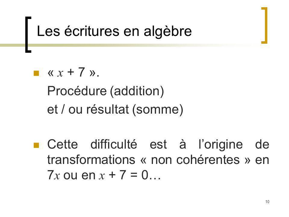 10 Les écritures en algèbre « x + 7 ». Procédure (addition) et / ou résultat (somme) Cette difficulté est à lorigine de transformations « non cohérent