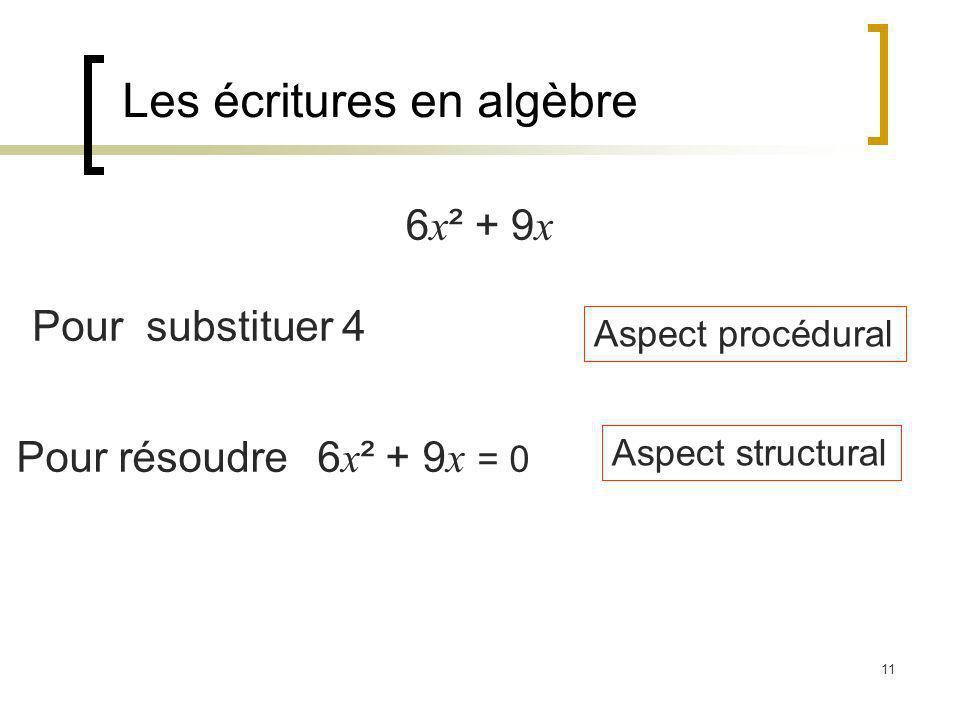 11 Les écritures en algèbre 6 x ² + 9 x Pour substituer 4 Pour résoudre 6 x ² + 9 x = 0 Aspect procédural Aspect structural