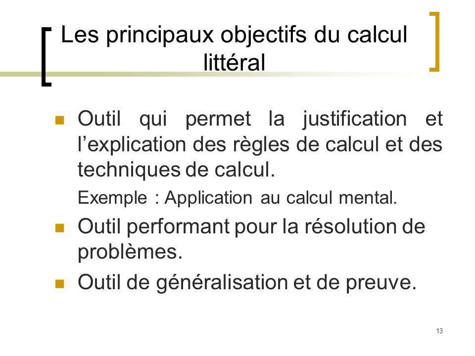 13 Les principaux objectifs du calcul littéral Outil qui permet la justification et lexplication des règles de calcul et des techniques de calcul. Exe