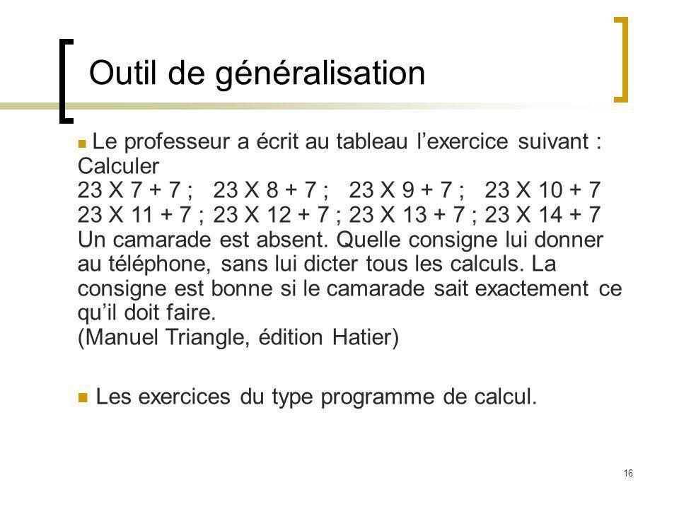 16 Outil de généralisation Le professeur a écrit au tableau lexercice suivant : Calculer 23 X 7 + 7 ;23 X 8 + 7 ;23 X 9 + 7 ; 23 X 10 + 7 23 X 11 + 7 ;23 X 12 + 7 ;23 X 13 + 7 ; 23 X 14 + 7 Un camarade est absent.