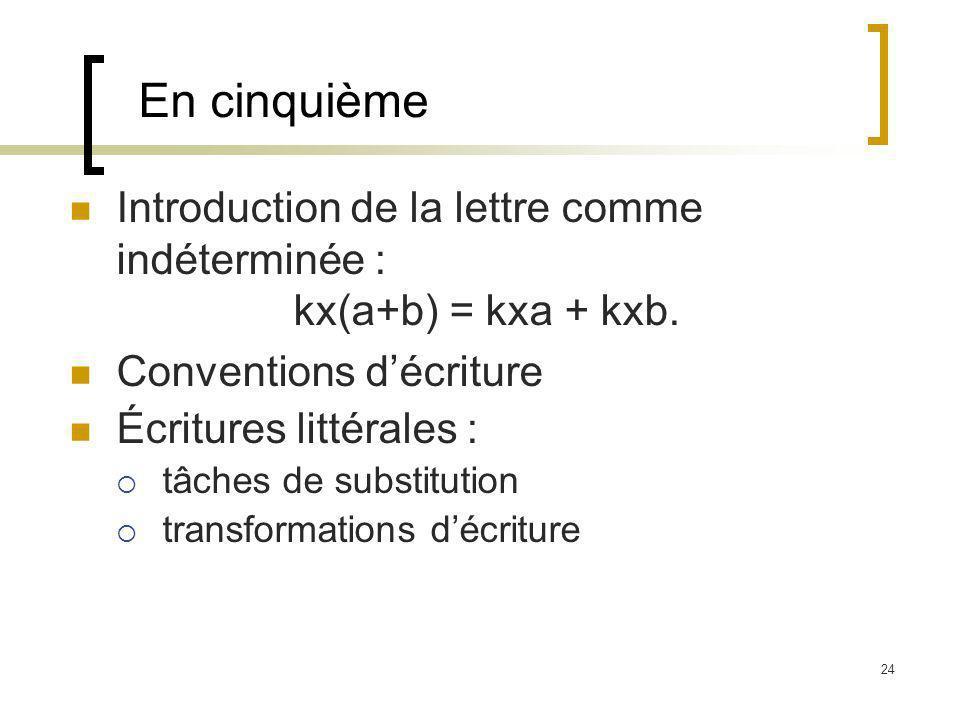 24 En cinquième Introduction de la lettre comme indéterminée : kx(a+b) = kxa + kxb. Conventions décriture Écritures littérales : tâches de substitutio