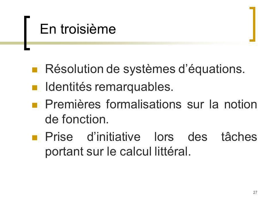 27 En troisième Résolution de systèmes déquations. Identités remarquables. Premières formalisations sur la notion de fonction. Prise dinitiative lors