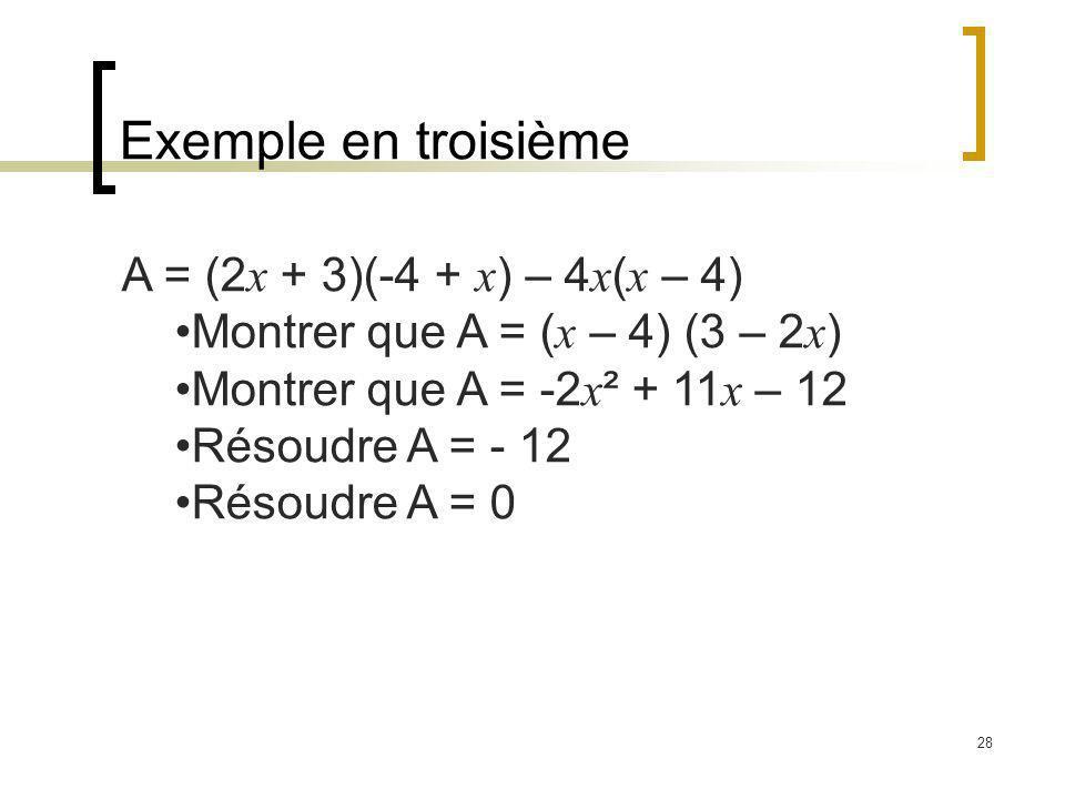 28 Exemple en troisième A = (2 x + 3)(-4 + x ) – 4 x ( x – 4) Montrer que A = ( x – 4) (3 – 2 x ) Montrer que A = -2 x ² + 11 x – 12 Résoudre A = - 12 Résoudre A = 0