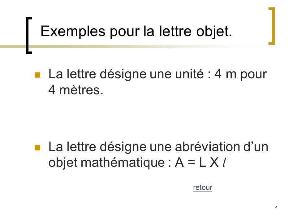 5 Exemples pour la lettre objet. La lettre désigne une unité : 4 m pour 4 mètres. La lettre désigne une abréviation dun objet mathématique : A = L X l