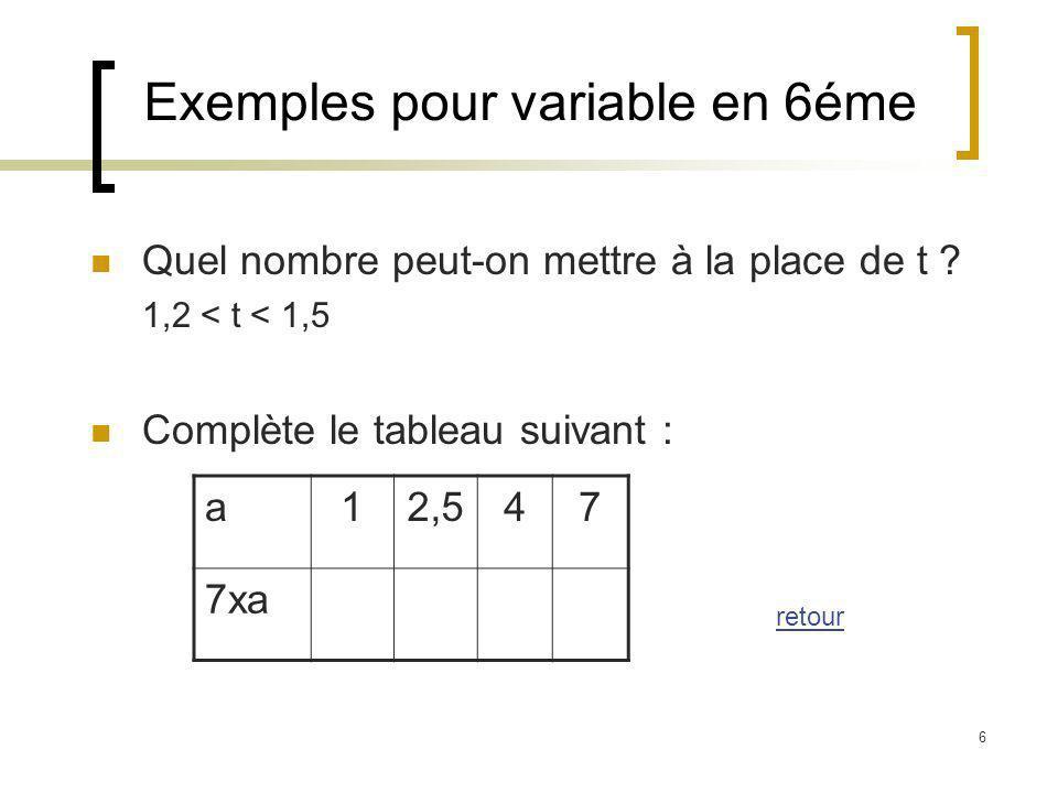 6 Exemples pour variable en 6éme Quel nombre peut-on mettre à la place de t ? 1,2 < t < 1,5 Complète le tableau suivant : a12,547 7xa retour