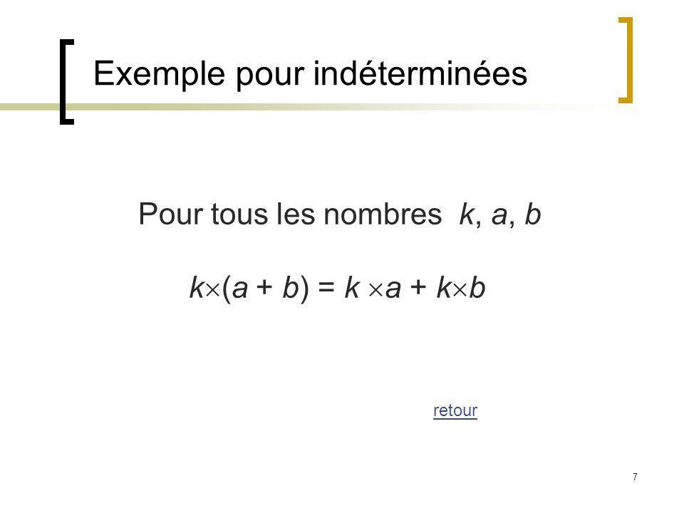 7 Exemple pour indéterminées Pour tous les nombres k, a, b k (a + b) = k a + k b retour
