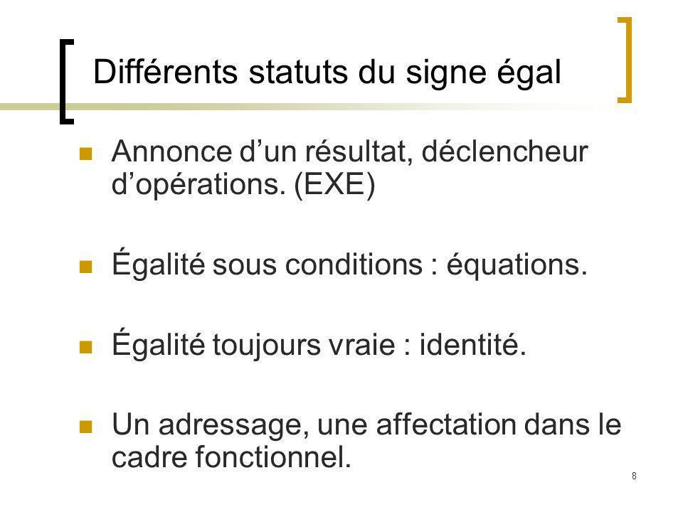8 Différents statuts du signe égal Annonce dun résultat, déclencheur dopérations. (EXE) Égalité sous conditions : équations. Égalité toujours vraie :