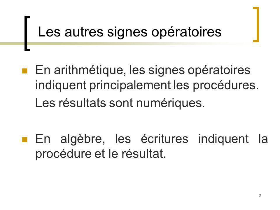 9 Les autres signes opératoires En arithmétique, les signes opératoires indiquent principalement les procédures. Les résultats sont numériques. En alg