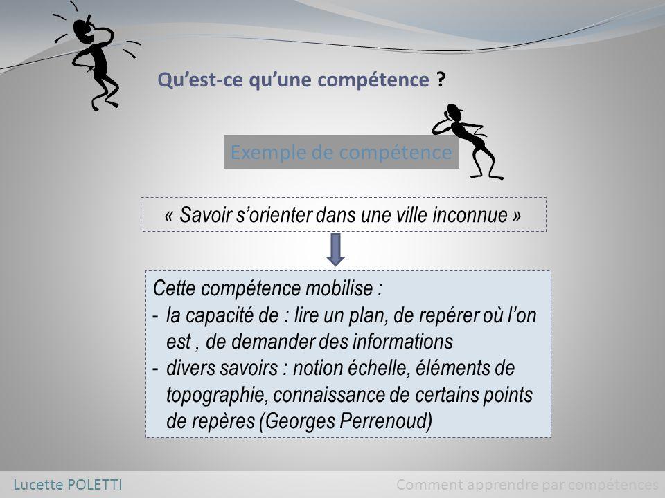 Lucette POLETTI Comment apprendre par compétences Les compétences se construisent en s exerçant face à des situations d emblée complexes.