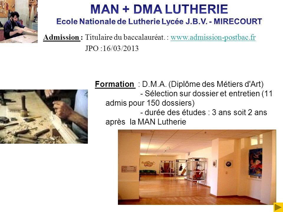 Formation : D.M.A. (Diplôme des Métiers d'Art) - Sélection sur dossier et entretien (11 admis pour 150 dossiers) - durée des études : 3 ans soit 2 ans