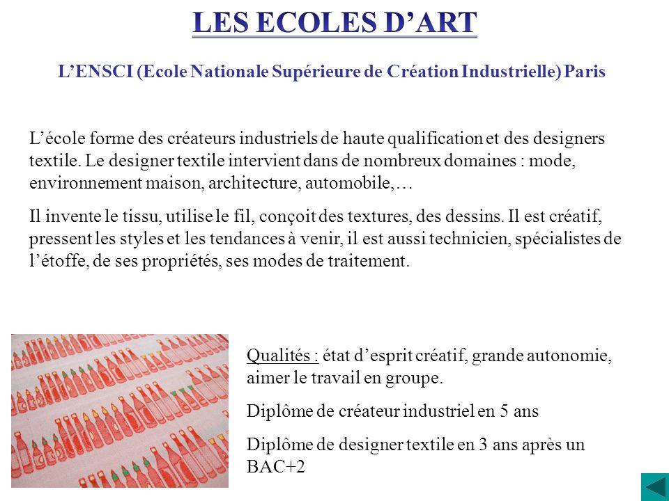 LENSCI (Ecole Nationale Supérieure de Création Industrielle) Paris Lécole forme des créateurs industriels de haute qualification et des designers text
