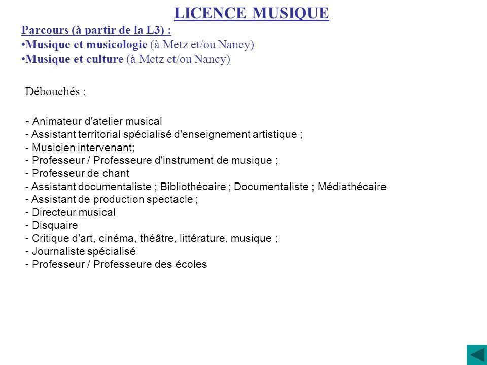 Débouchés : - Animateur d'atelier musical - Assistant territorial spécialisé d'enseignement artistique ; - Musicien intervenant; - Professeur / Profes